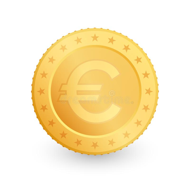 Euro Gold coin isolated on white background. Vector illustration stock illustration