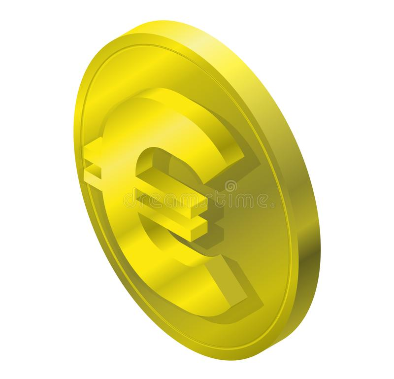 Euro gold coin logo in isometric perspective. Three dimensional symbol, buck mark. stock illustration
