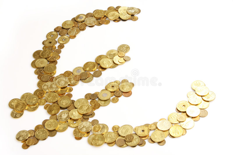 Euro gold sign. Gold euro sign made of polish zlotys stock image