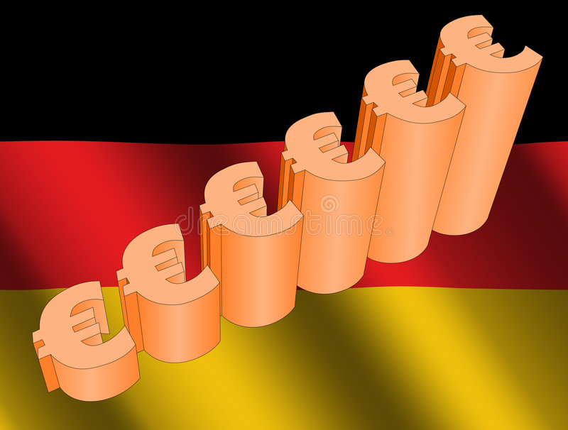 Euro grafico sulla bandierina tedesca illustrazione di stock