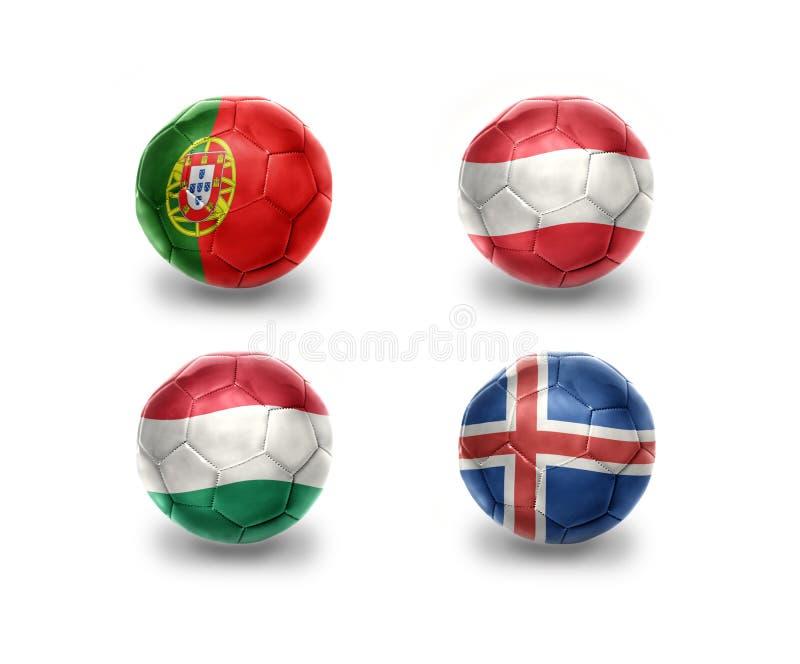 Euro gruppo F palle di calcio con le bandiere nazionali del Portogallo, Austria, Ungheria, Islanda royalty illustrazione gratis