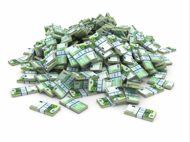 Euro. Hög från packar av pengar. stock illustrationer