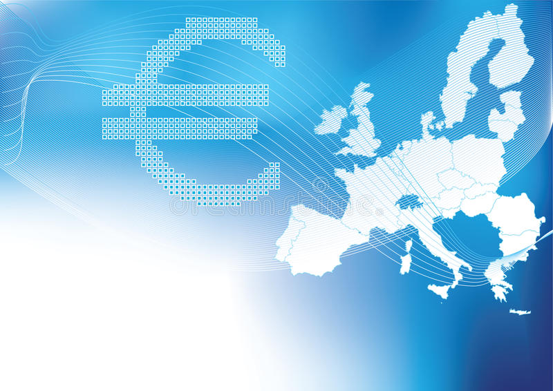 Euro in halftone with europa map in background royalty free illustration