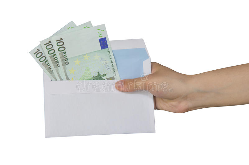 Euro. Hand taking an envelope with euros inside stock image