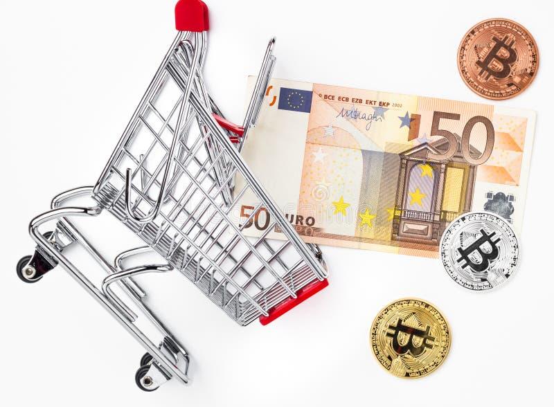 Euro i fizyczni metali bitcoins złoto, srebro, brąz w spadku fotografia stock