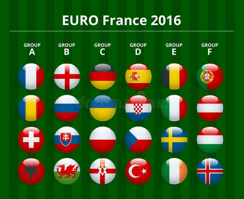 Euro 2016 i Frankrike Flaggor av europeiska länder som deltar till slutspelet av eurofotboll 2016 royaltyfri illustrationer