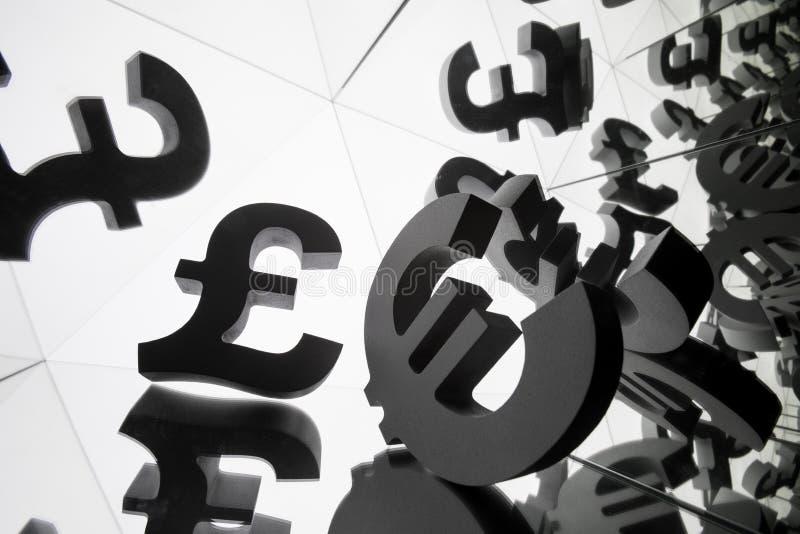 Euro i funta waluty symbol Z Wiele Odzwierciedla wizerunkami zdjęcia royalty free