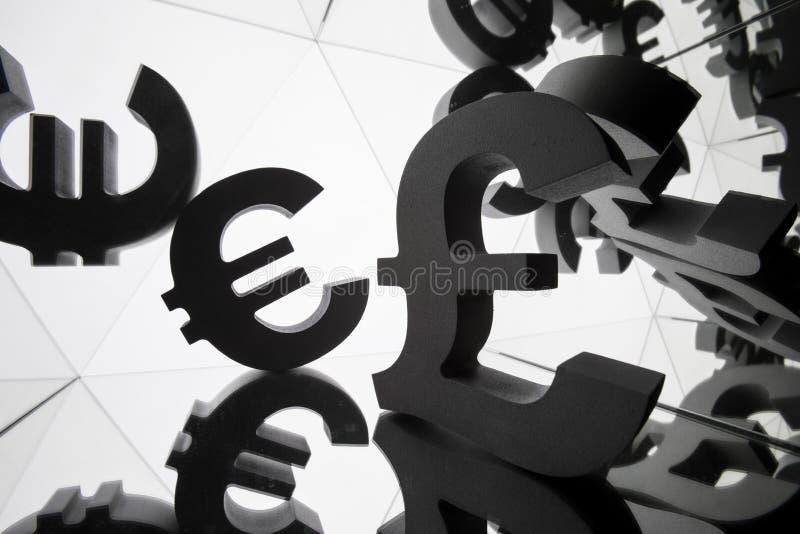 Euro i funta waluty symbol Z Wiele Odzwierciedla wizerunkami obrazy stock