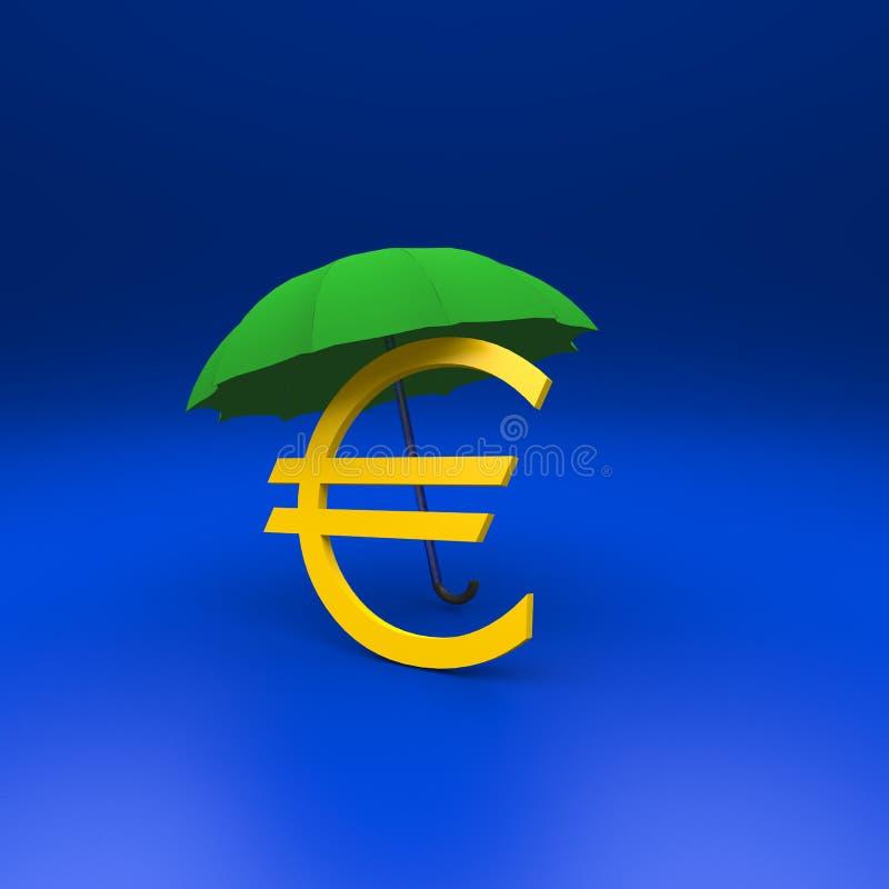 Euro i parasol ilustracja wektor