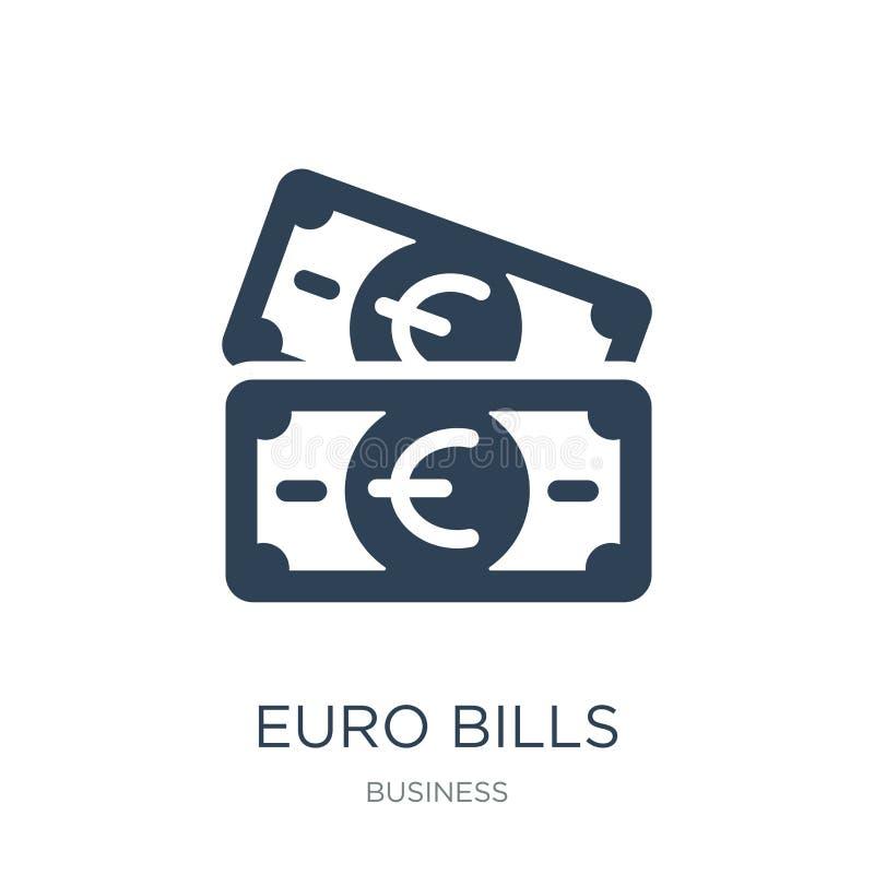 euro icône de factures dans le style à la mode de conception euro icône de factures d'isolement sur le fond blanc les euro factur illustration de vecteur