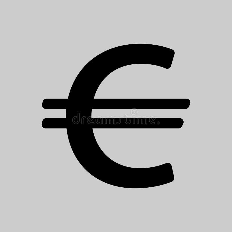 Euro ic?ne de signe euro hauts de la devise 3d d'isolement rendent le symbole de r?solution blanc Label d'argent illustration libre de droits
