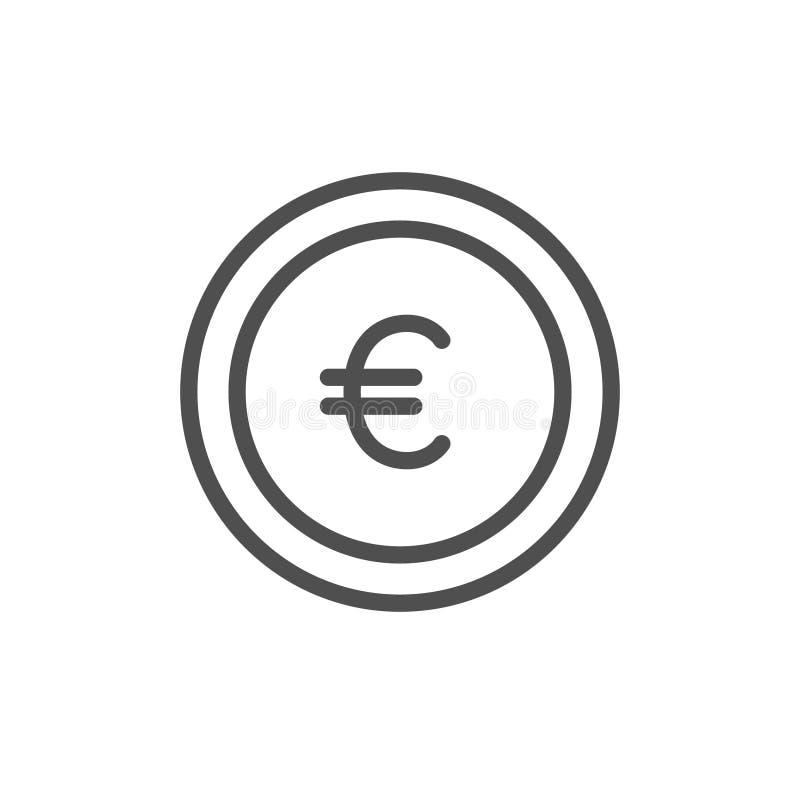 Euro ic?ne de vecteur de pi?ce de monnaie Les économies d'argent liquide, gagnent la ligne signe d'ensemble, le symbole mince lin illustration libre de droits