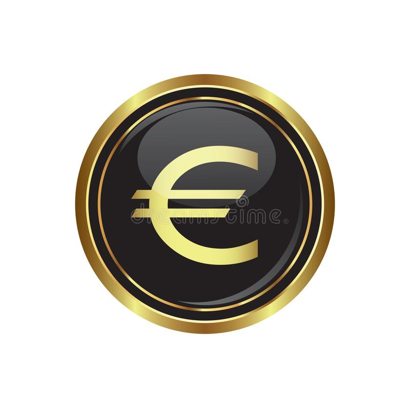 Euro icon on the button stock illustration