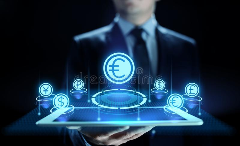 Euro icon on screen. Currency trading Exchange rate Forex business concept. stock illustration