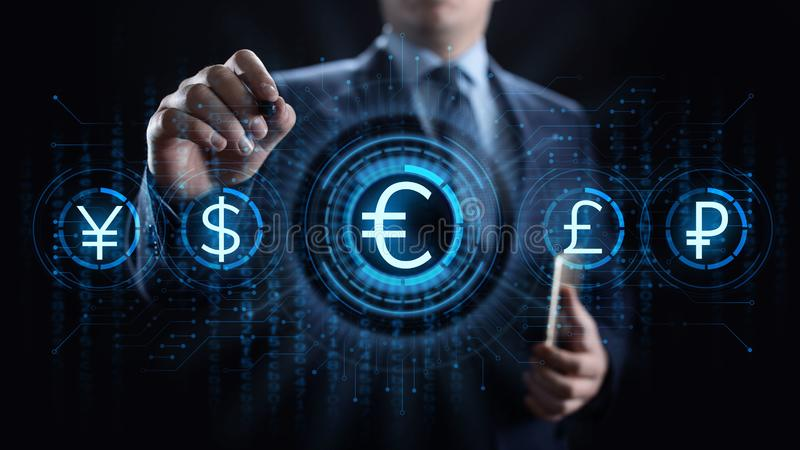 Euro icon on screen. Currency trading Exchange rate Forex business concept. royalty free stock photo