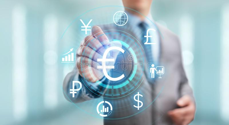 Euro icon on screen. Currency trading Exchange rate Forex business concept. stock photos