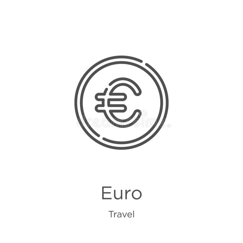 Euro icon vector from travel collection. Thin line euro outline icon vector illustration. Outline, thin line euro icon for website. Euro icon. Element of travel stock illustration