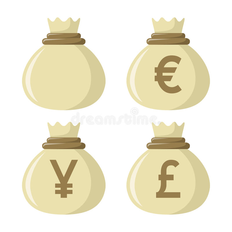 Euro icona in bianco di Yen Pound Money Bag Flat illustrazione di stock