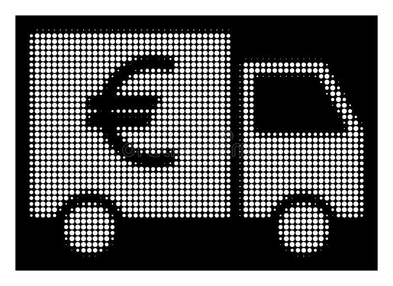 Euro icona di semitono bianca del camion illustrazione di stock