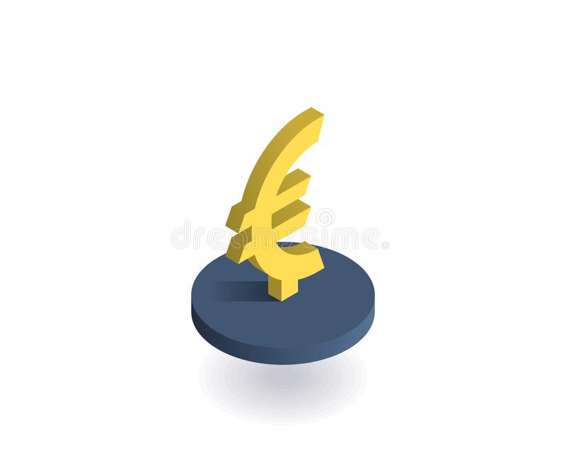 Euro icona Illustrazione di vettore nello stile isometrico piano 3D illustrazione vettoriale