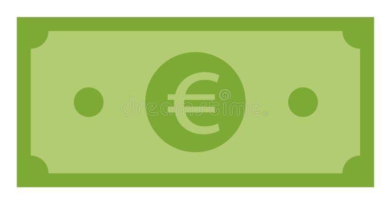 Euro icona su fondo bianco Stile piano euro icona per la vostra progettazione del sito Web, logo, app, UI Euro simbolo verde Euro illustrazione vettoriale