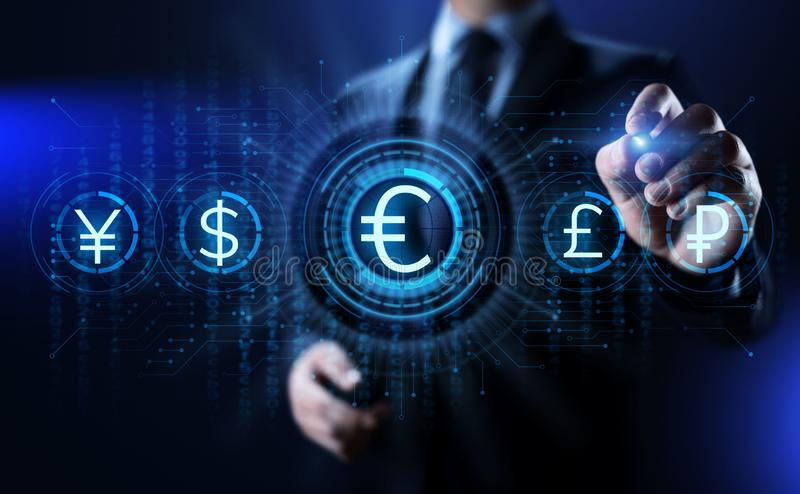Euro ikona na ekranie Waluta handlu kursu wymianego rynków walutowych biznesu pojęcie zdjęcia royalty free