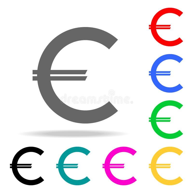 Euro ikona w modnym mieszkanie stylu odizolowywającym Elementy w wielo- barwionych ikonach dla mobilnych pojęcia i sieci apps Iko ilustracji