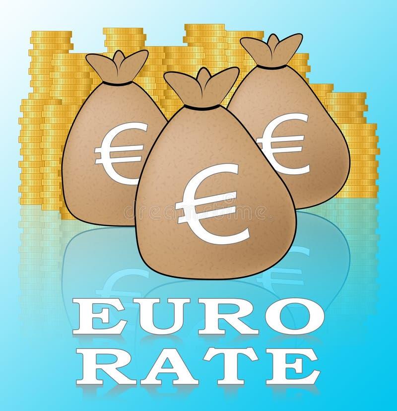 Euro-Illustration Rate Meaning Europe Exchanges 3d lizenzfreie abbildung