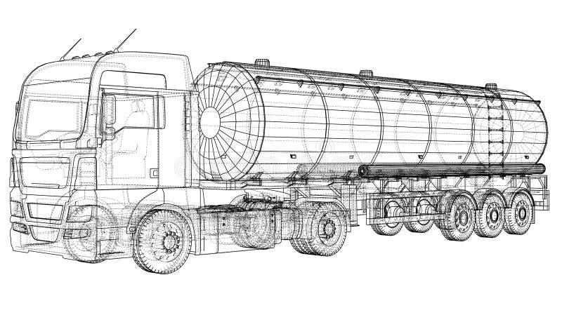 Euro illustrazione della cisterna del camion Vettore Illustrazione di rintracciamento di 3d Formato di vettore di ENV 10 illustrazione di stock