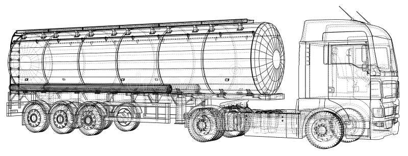 Euro illustrazione della cisterna del camion Vettore Illustrazione di rintracciamento di 3d Formato di vettore di ENV 10 illustrazione vettoriale