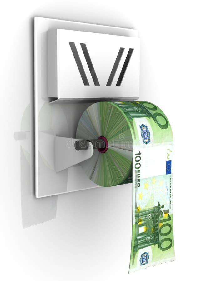 Euro im Toilettenpapier lizenzfreie abbildung