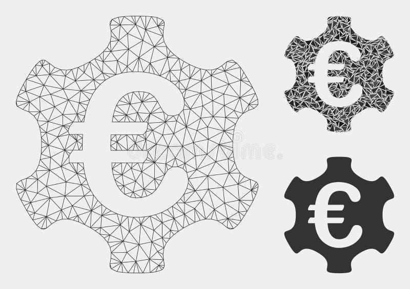 Euro Industrie Vector het Mozaïekpictogram van Mesh Wire Frame Model en van de Driehoek royalty-vrije illustratie