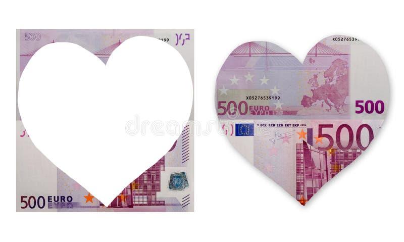 Euro insieme della banconota del cuore fotografia stock