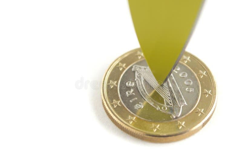 Euro irlandese di scissione a metà fotografia stock libera da diritti