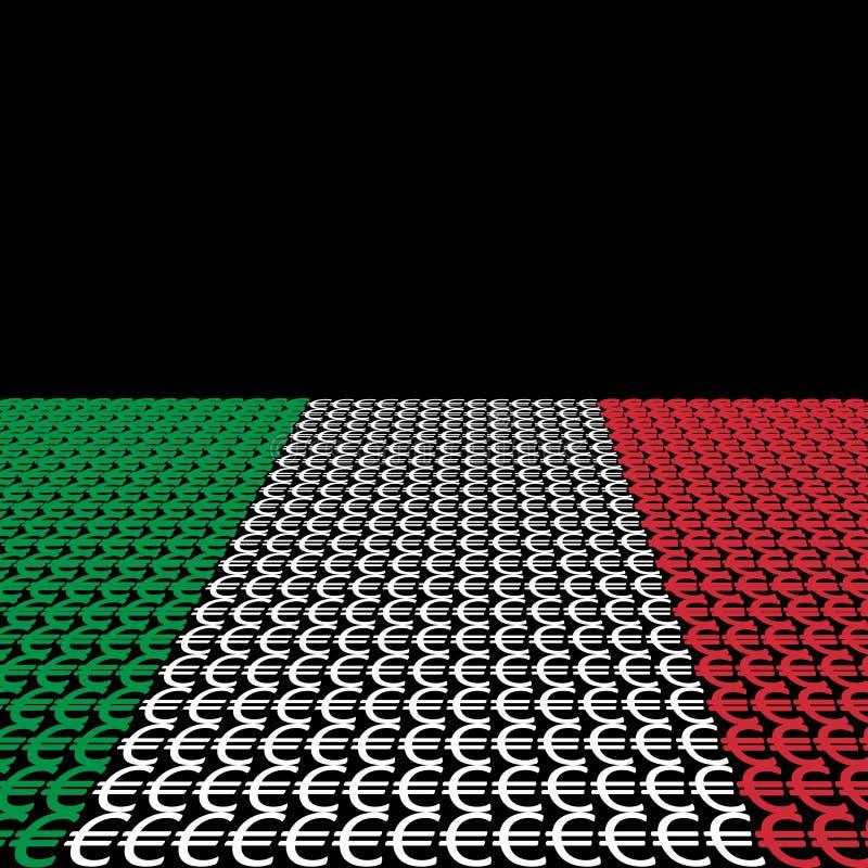 Euro italianos da bandeira ilustração stock