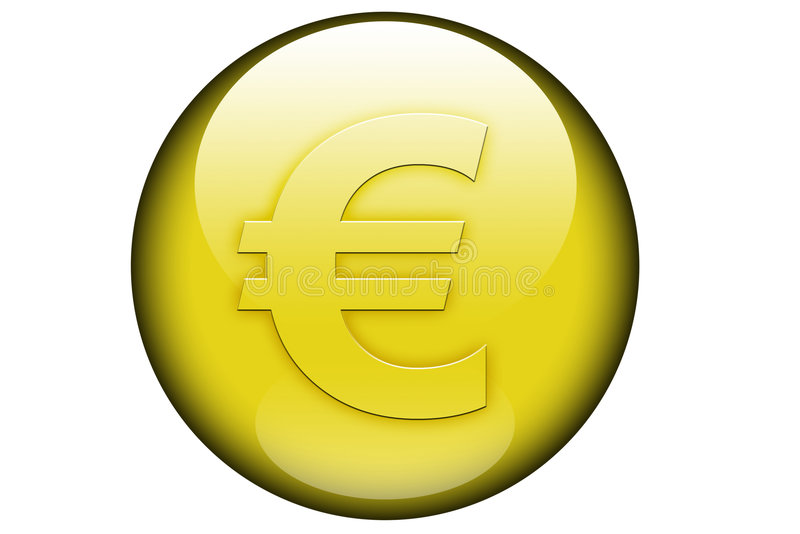 Euro kennzeichnen Sie innen eine glasige Kugel stock abbildung