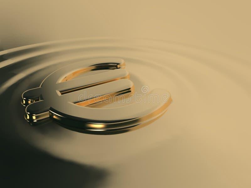 Euro líquido do ouro ilustração royalty free