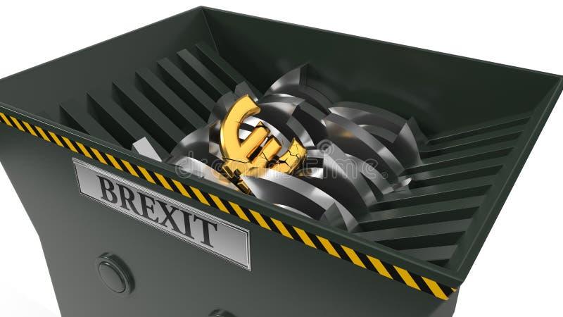 Euro laissé tomber dans le défibreur concept de crise de brexit illustration 3D illustration stock