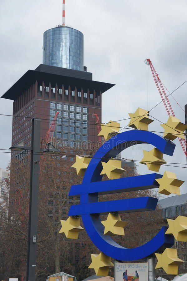 Euro landmark Frankfurt stock photo