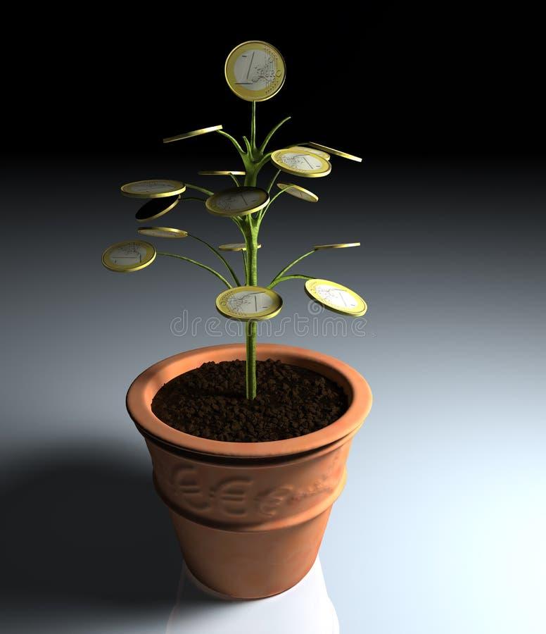 euro mały pieniądze jeden cienia drzewo royalty ilustracja