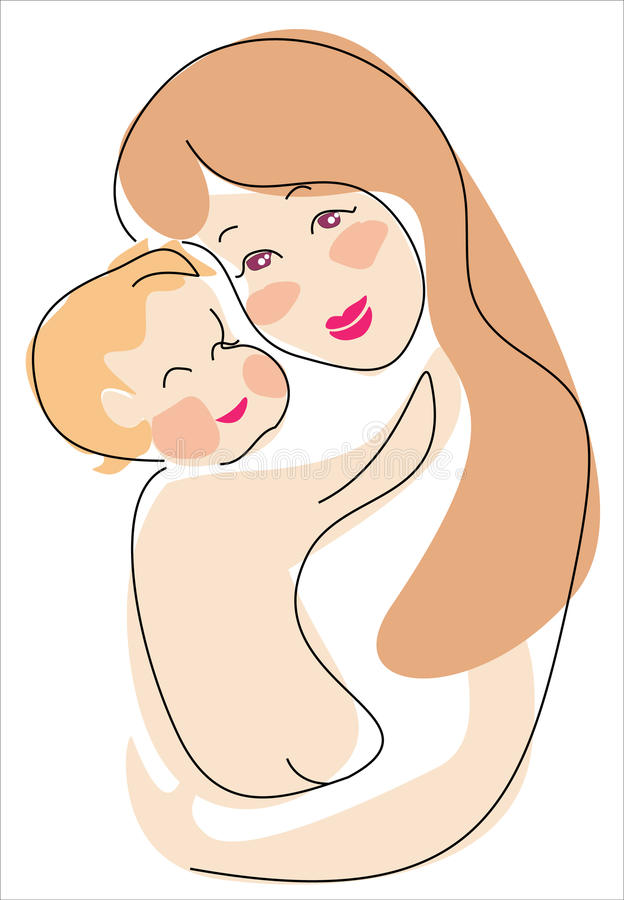 Euro mama i dziecko royalty ilustracja