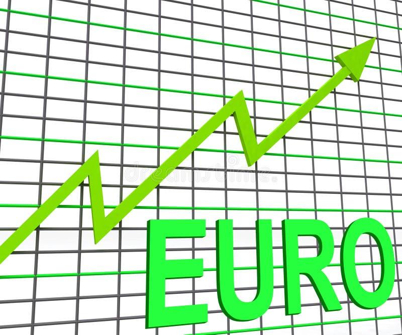 Euro manifestazioni del grafico del grafico che aumentano economia europea illustrazione vettoriale