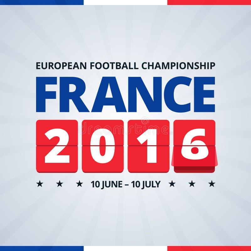 Euro manifesto footbal della tazza della Francia 2016 illustrazione vettoriale