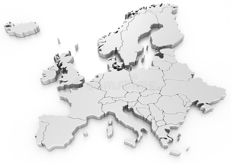 Euro map. 3d rendering of a map of Europe
