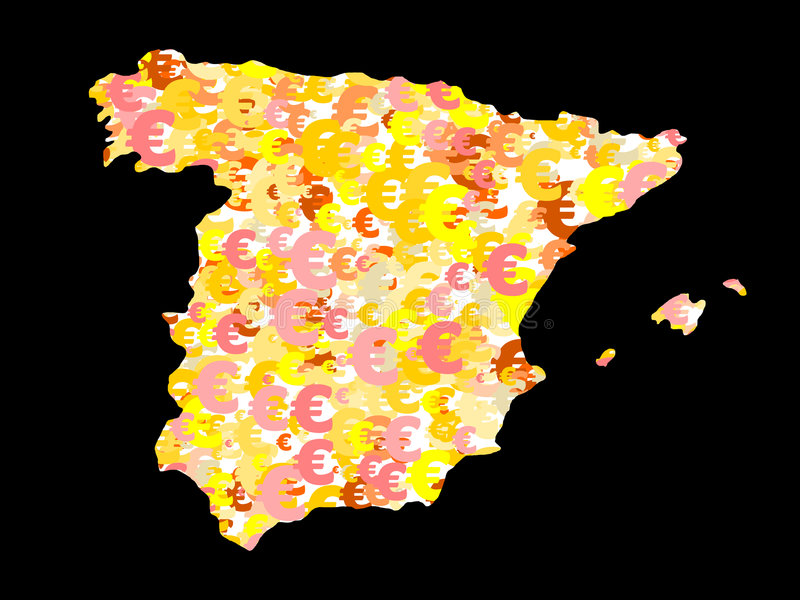 euro mapa Spain ilustracji