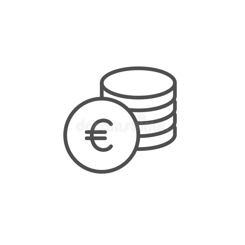 Euro mennicza wektorowa ikona Gotówka oprócz, zarabia bubel linii konturu znaka, liniowy cienki symbol, płaski projekt dla sieci, ilustracji