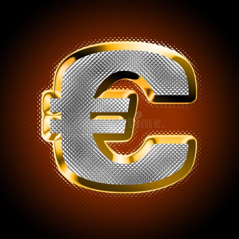 Euro met diamanten royalty-vrije illustratie