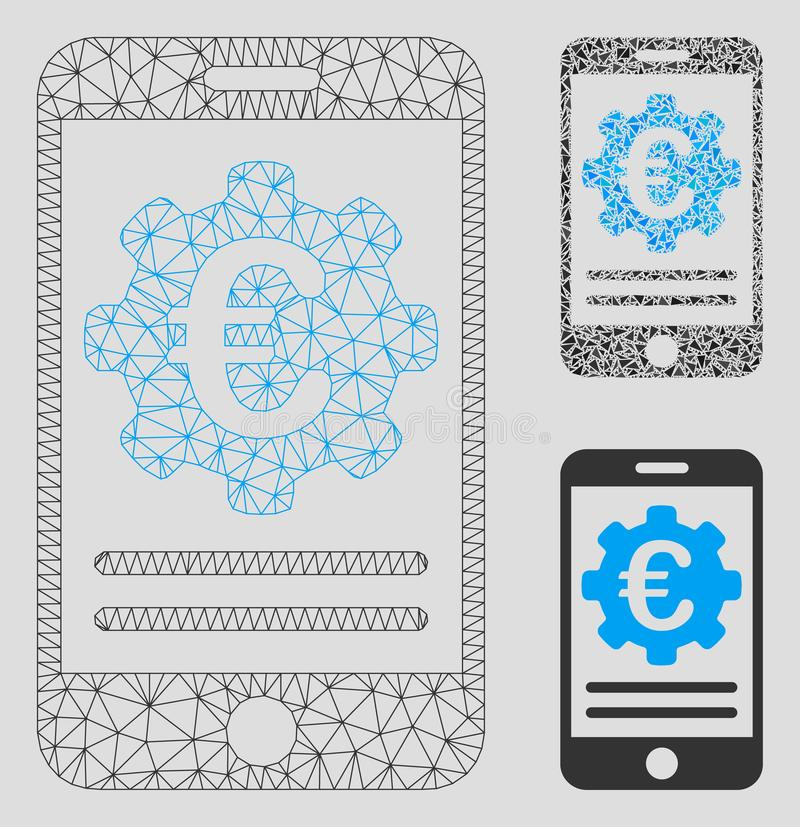 Euro Mobile Banking Configuration Vector Mesh Wire Frame Model and Triangle Mosaic Icon stock illustration