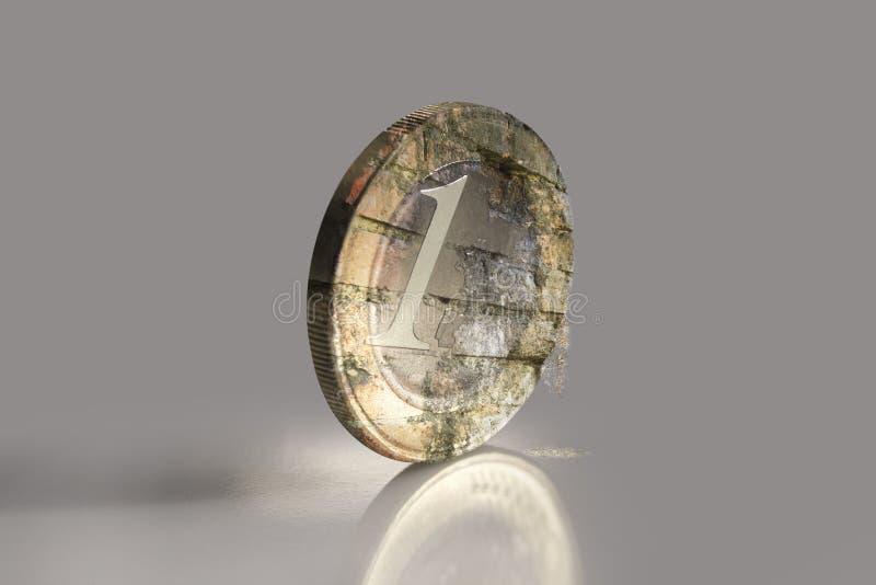 Euro- moeda de desintegração ilustração do vetor