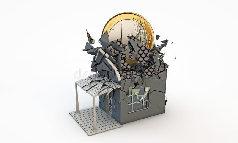 Euro- moeda grande que causa um crash com uma casa residencial ilustração do vetor